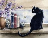 BLACK CAT Art Print Signed by Artist DJ Rogers