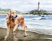 "Golden Retriever Art Print ""GOLDEN RETRIEVER At The Beach"" Watercolor Signed by Artist D J Rogers"