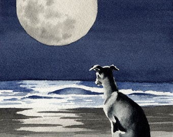 GREYHOUND Art Print Signed by Artist DJ Rogers