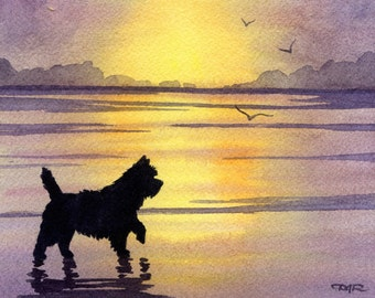 "Cairn Terrier Art Print ""CAIRN TERRIER SUNSET"" Signed Watercolor by Artist D J Rogers"