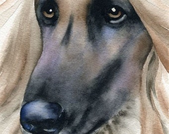 AFGHAN HOUND Dog Watercolor Signed Fine Art Print by Artist DJ Rogers