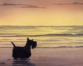 "Scottish Terrier Art Print ""SCOTTISH TERRIER At The Beach"" Watercolor Signed by Artist DJ Rogers"