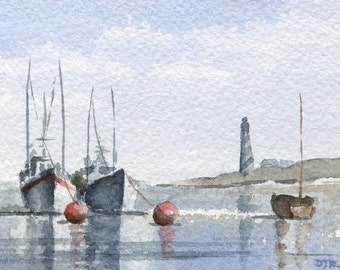 BOATS \/ SAFE HARBOR Watercolor Signed Fine Art Print by Artist D J Rogers