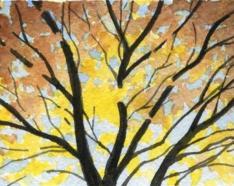 TREE \/ CHANGING COLORS Watercolor Signed Fine Art Print by Artist D J Rogers