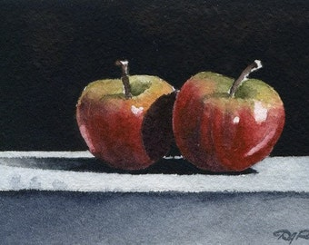 APPLES Watercolor Signed Fine Art Print by Artist DJ Rogers