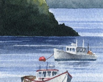 LOBSTER BOATS Watercolor Signed Fine Art Print by Artist DJ Rogers