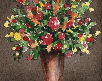 ROSE BOUQUET Watercolor Signed Fine Art Print by Artist DJ Rogers