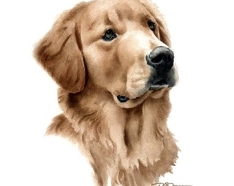 GOLDEN RETRIEVER Dog Art Print Signed by Artist DJ Rogers