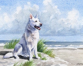 "White German Shepherd Art Print ""White German Shepherd At The Beach"" Signed by Artist DJ Rogers"