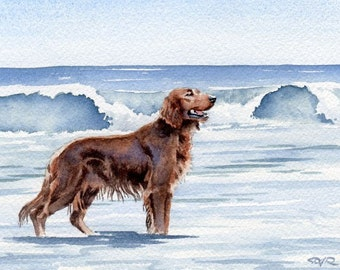 IRISH SETTER Dog Watercolor Art Print Signed Artist DJ Rogers