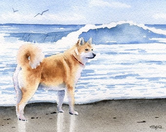 AKITA At The BEACH Dog Signed Art Print by Artist DJ Rogers