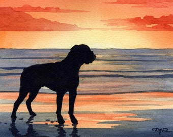 """Boxer Art Print """"BOXER SUNSET"""" Watercolor Painting Signed by Artist DJ Rogers"""