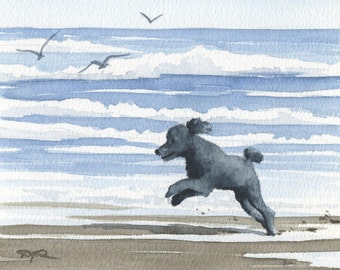 """Black Poodle Art Print """"BLACK POODLE At The BEACH"""" Watercolor Signed by Artist D J Rogers"""