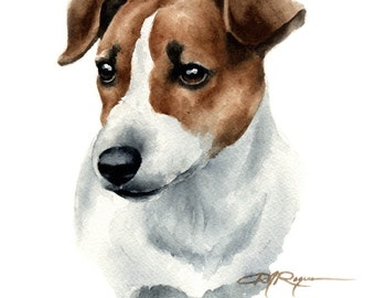 JACK RUSSELL TERRIER Dog Signed Art Print by Artist D J Rogers