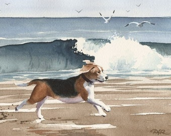 BEAGLE At The BEACH Original Watercolor Painting by Artist DJ Rogers