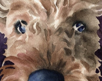 AIREDALE TERRIER Art Print Watercolor Signed by Artist DJ Rogers