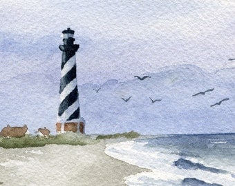 CAPE HATTERAS LIGHTHOUSE  Watercolor Signed Fine Art Print by Artist D J Rogers