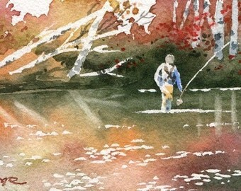 Fly Fishing SECRET SPOT Watercolor Signed Fine Art Print by Artist DJ Rogers