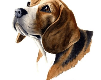 BEAGLE Dog Art Print Signed by Artist DJ Rogers