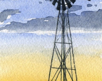 WINDMILL Watercolor Signed Fine Art Print by Artist DJ Rogers