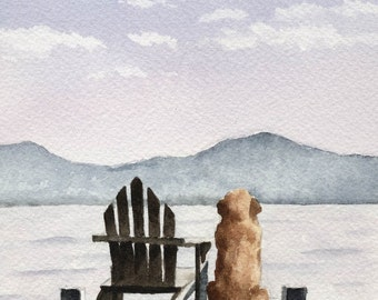 "GOLDEN RETRIEVER Art Print ""Patiently Waiting"" Signed by Watercolor Artist DJ Rogers"