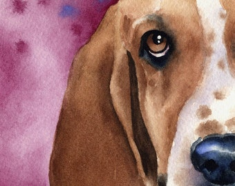 BASSET HOUND Original Watercolor Painting by Artist DJ Rogers