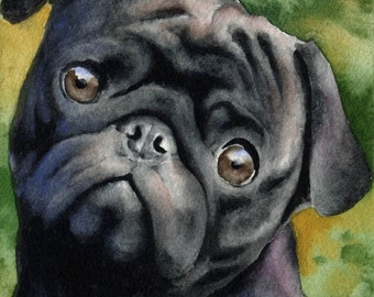 BLACK PUG Art Print Signed by Artist DJ Rogers