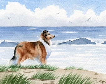 "ROUGH COLLIE Art Print ""Rough Collie At The Beach"" Watercolor Signed DJR"