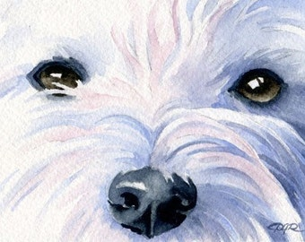 West Highland Terrier Art Print Watercolor Painting Signed DJ Rogers