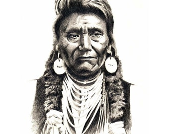 Indian CHIEF JOSEPH Art Print Signed by Artist DJ Rogers