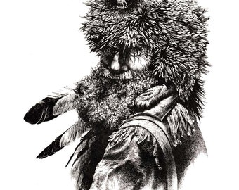 MOUNTAIN MAN Pen and Ink Drawing Art Print Signed by Artist DJ Rogers