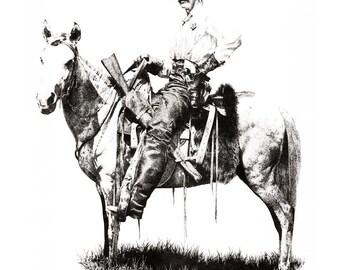 TEXAS RANGER Pencil Drawing Cowboy Art Print Signed by Artist DJ Rogers