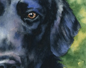 Flat Coated Retriever Art Print Watercolor Signed by Artist DJ Rogers