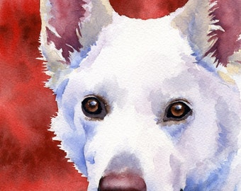 WHITE GERMAN SHEPHERD Art Print Signed by Artist D J Rogers