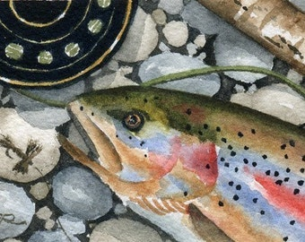 "FLY FISHING / ""Trophy Rainbow"" Watercolor Signed Fine Art Print by Artist D J Rogers"