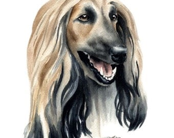 AFGHAN HOUND Watercolor Art Print Signed by Artist DJ Rogers
