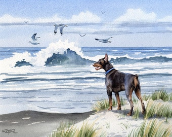 """Red Doberman Art Print """"RED DOBERMAN At The Beach"""" Watercolor Signed by Artist DJ Rogers"""