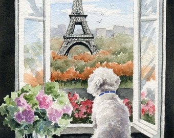 "Bichon Frise Art Print ""Bichon Frise in Paris"" Signed by Artist DJ Rogers"