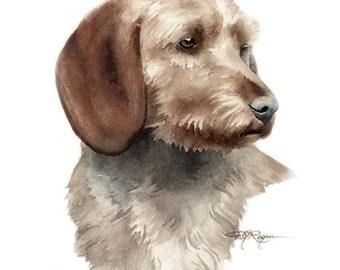 BASSET FAUVE de BRETAGNE Dog Art Print Signed by Artist D J Rogers