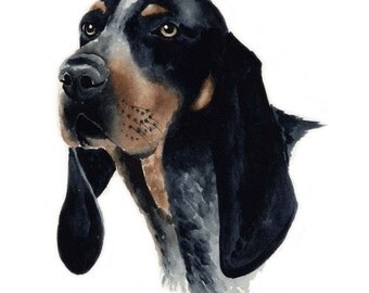 BLUETICK COONHOUND Art Print Signed by Artist DJ Rogers