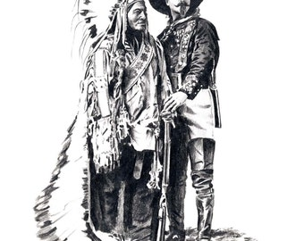 Buffalo Bill Cody And Sitting Bull Western Art Print Signed by Artist DJ Rogers
