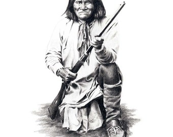 GERONIMO Indian Art Print Signed by Artist DJ Rogers