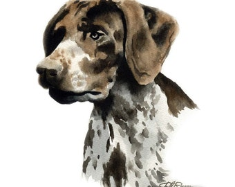 German Short Haired Pointer Dog Art Print Signed by Artist DJ Rogers