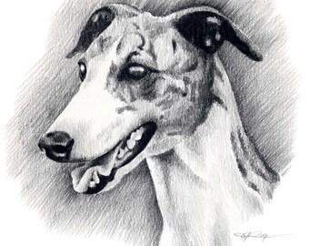 GREYHOUND Dog Art Print Signed by Artist DJ Rogers