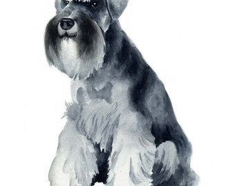 MINIATURE SCHNAUZER Dog Watercolor Painting Art Print Signed by Artist DJ Rogers