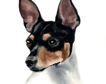 RAT TERRIER Dog Watercolor Painting Art Print Signed by Artist DJ Rogers