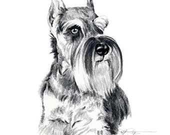 SCHNAUZER Dog Pencil Drawing ART Print Signed by Artist DJ Rogers
