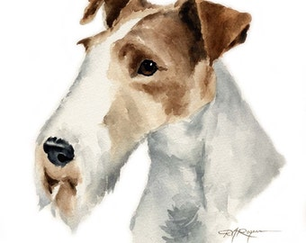 Wire Fox Terrier Dog Watercolor Painting Art Print Signed by Artist DJ Rogers