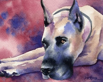 GREAT DANE Art Print Signed by Artist DJ Rogers