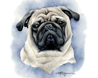 PUG Dog Watercolor Painting ART Print Signed by Artist DJ Rogers
